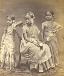 Group of children from Madras, showing mode of wearing jewellery